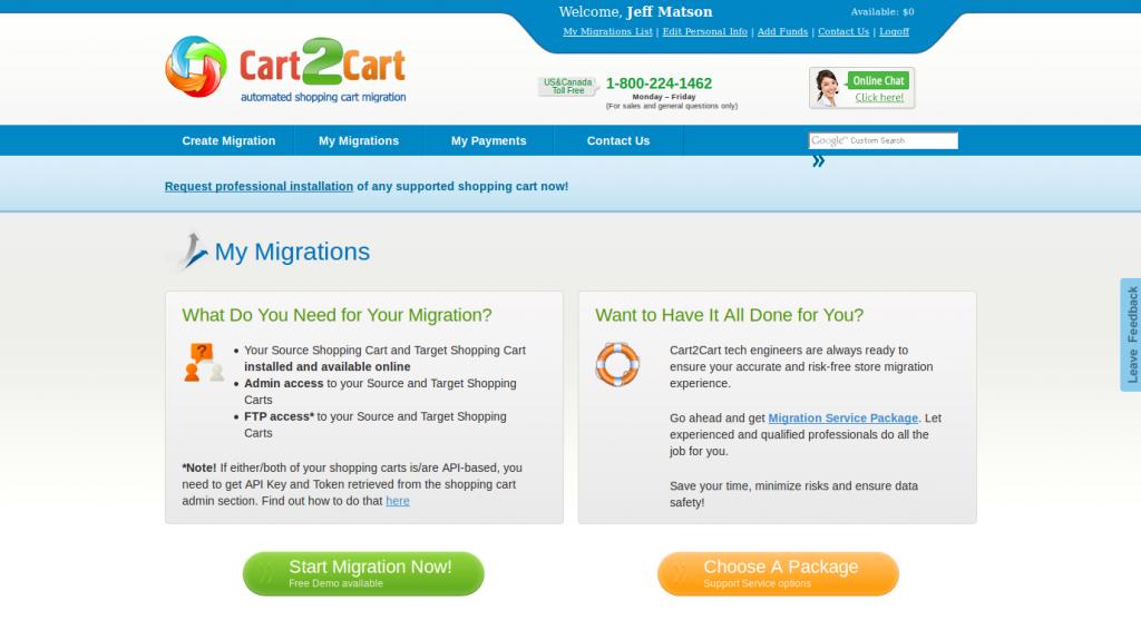 Cart2Cart Migration Info