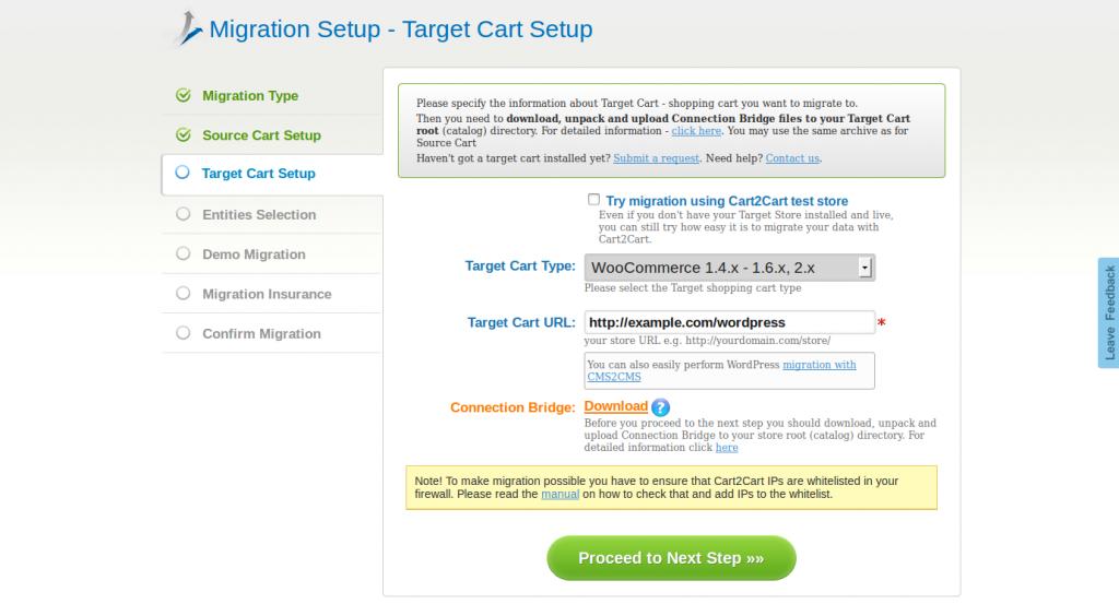 Cart2Cart Target Cart Setup