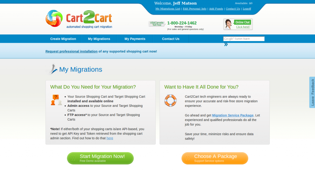 Cart2Cart Migration Page