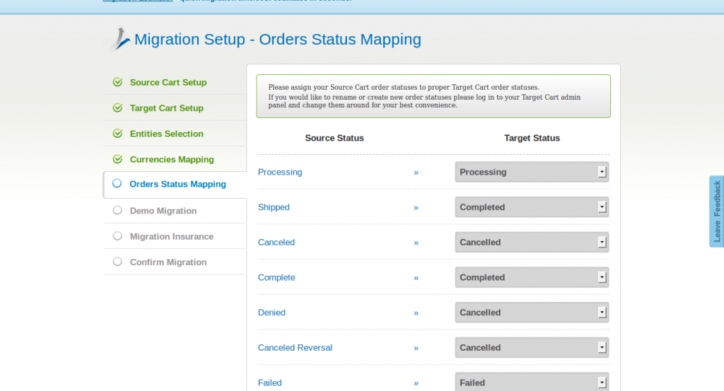 Cart2Cart Orders Status Mapping