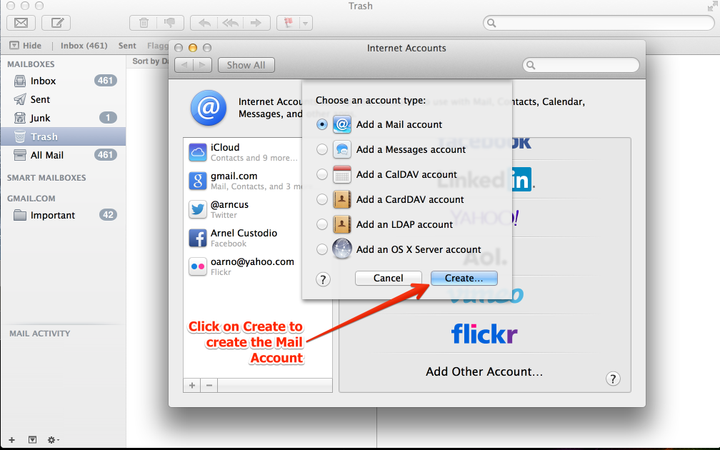 Another way to add new email account