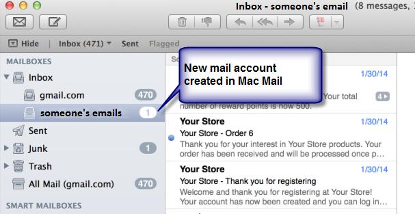 Mac Mail home screen