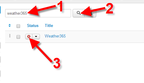 Enabling the Weather365 extension
