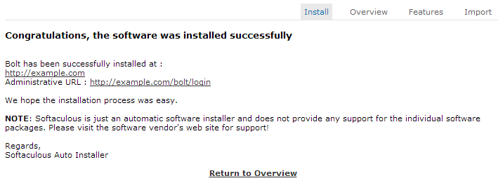 Bolt CMS successfully installed via cPanel