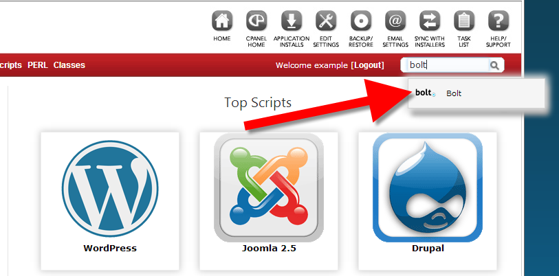 looking for the Bolt CMS in cPanel