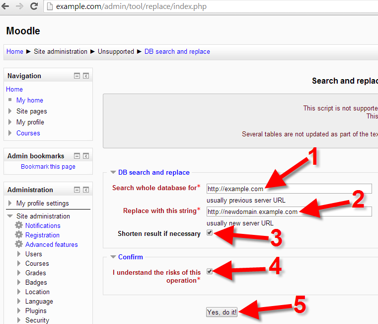 Changing URL in Moodle