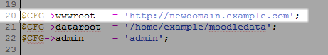 Updating URL in config.php file in Moodle