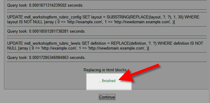 URL changed in Moodle with replace.php script