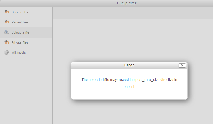 post_max_size directing in php.ini error