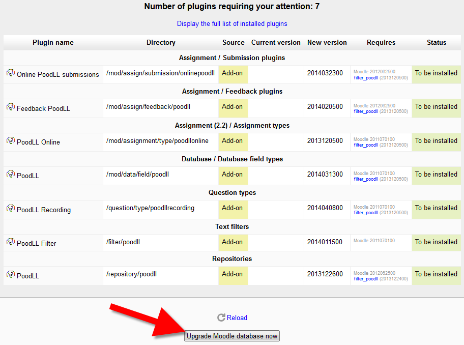 Activating plugins in Moodle