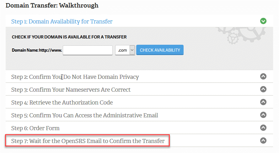 Wait for OpenSRS Email to complete transfer