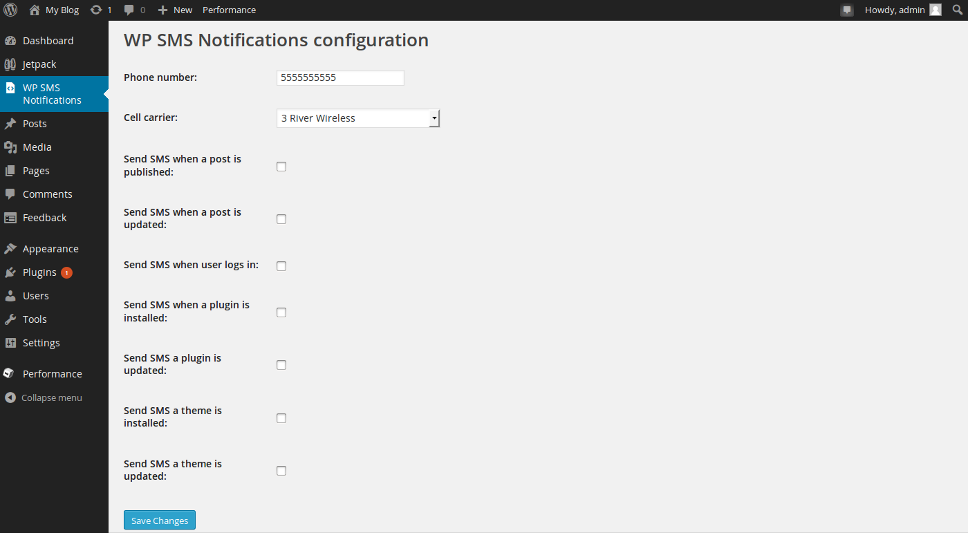 Configuring text message notifications in WordPress
