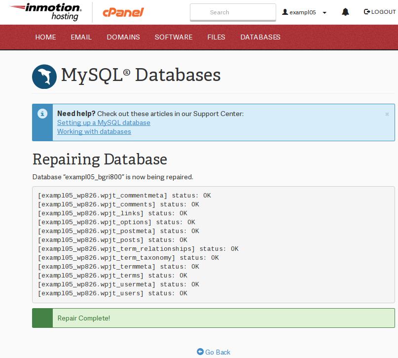 cpanel mysql databases mysqlDatabases repairResults