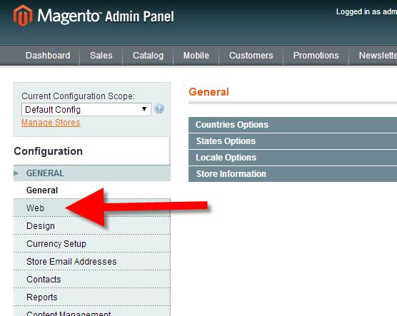 Web settings menu