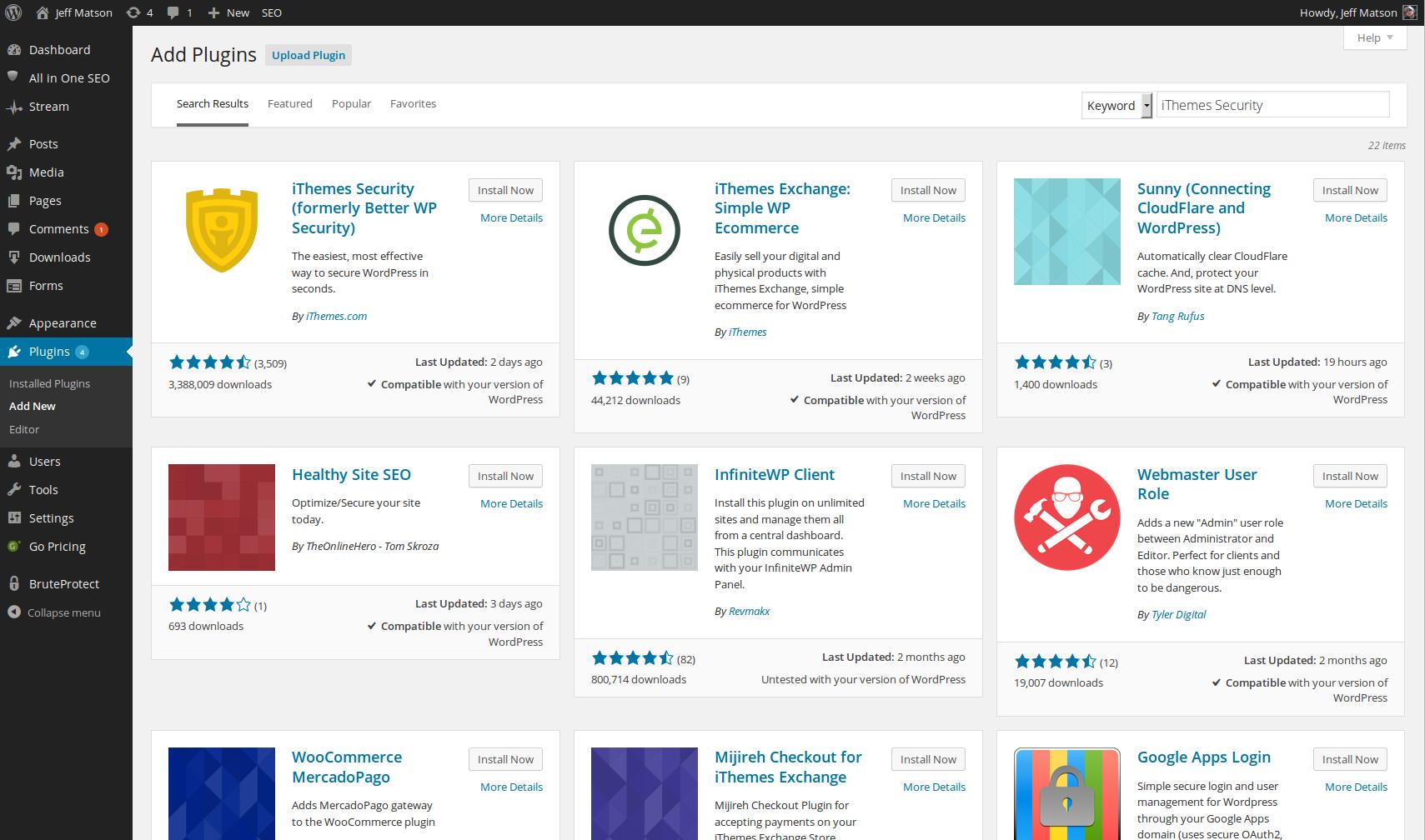 wordpress plugins install ithemes security 3
