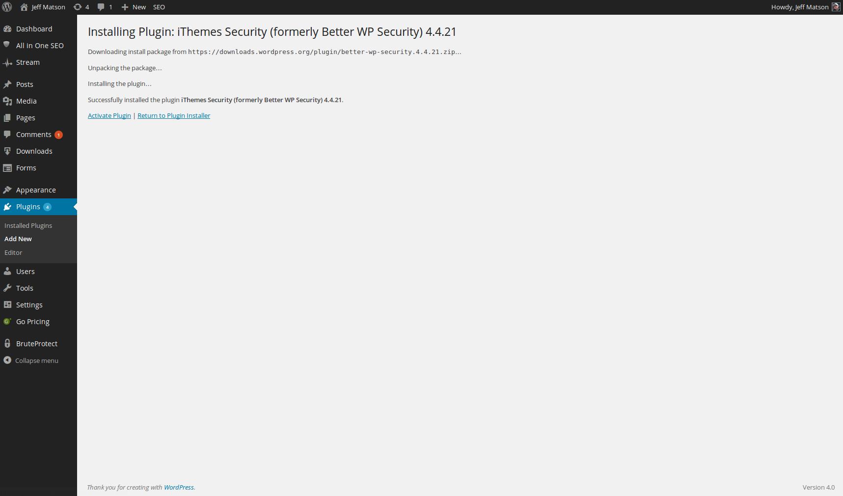 wordpress plugins install ithemes security 4