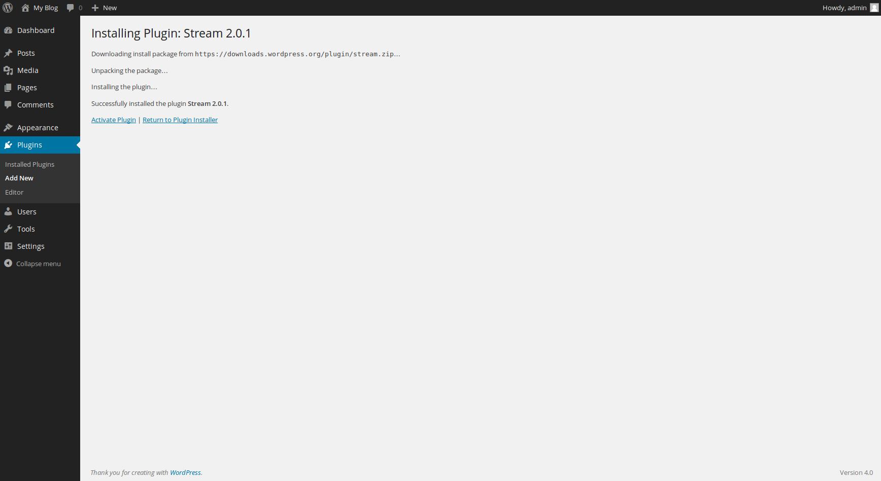 wordpress plugins stream wp 3