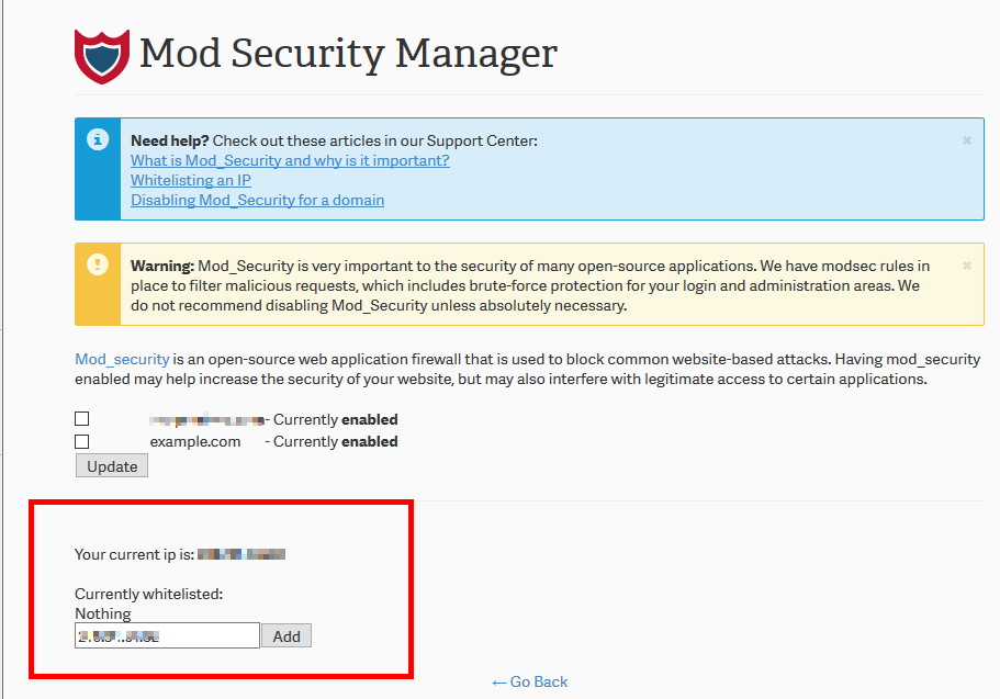 Whitelisting an IP in Mod Security | InMotion Hosting Support Center