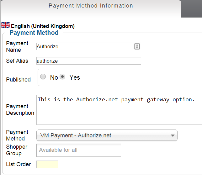 VM options in Authorize