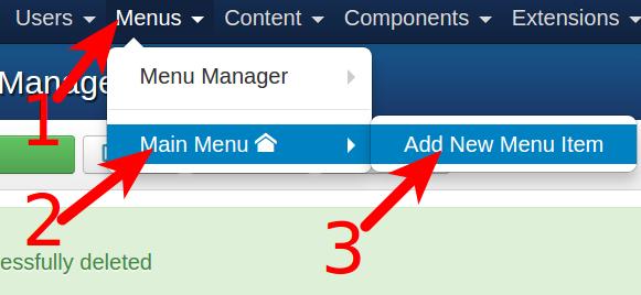 Creating a menu item for VM3