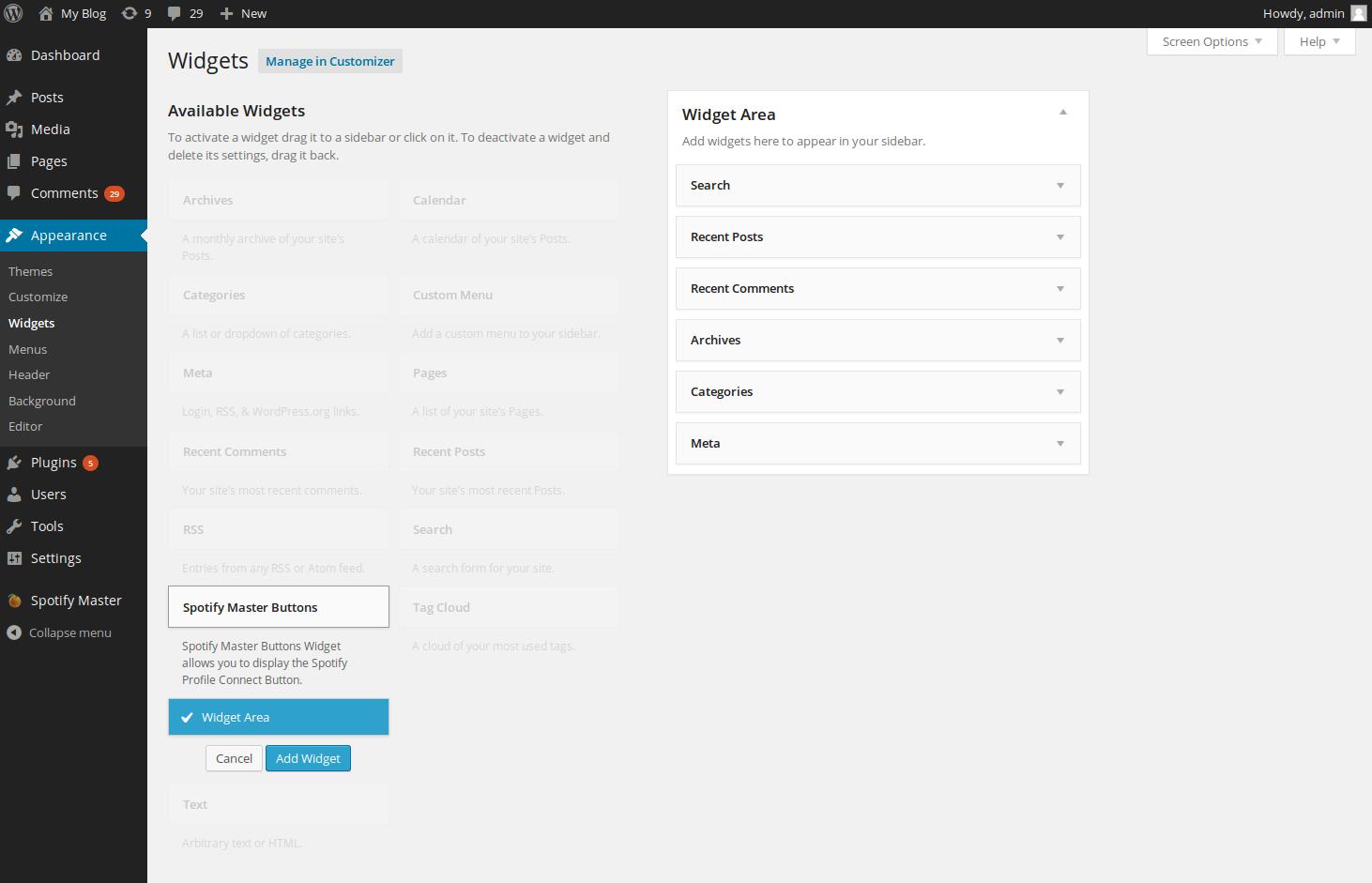wordpress plugins spotify master 6