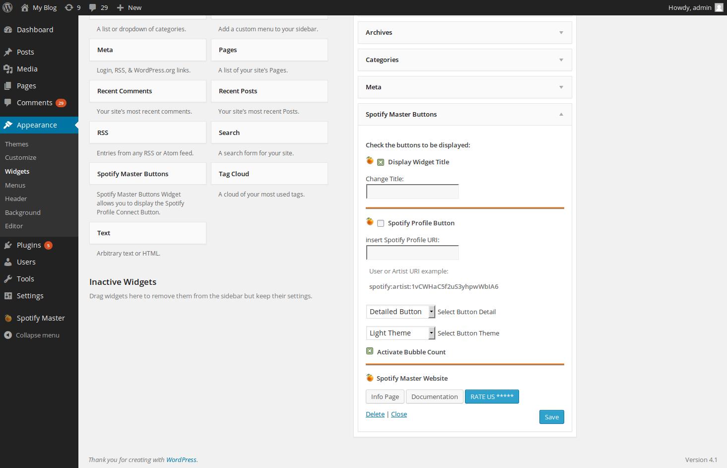 Adding a Spotify widget to WordPress with the Spotify Master