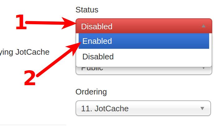JotCache settings page