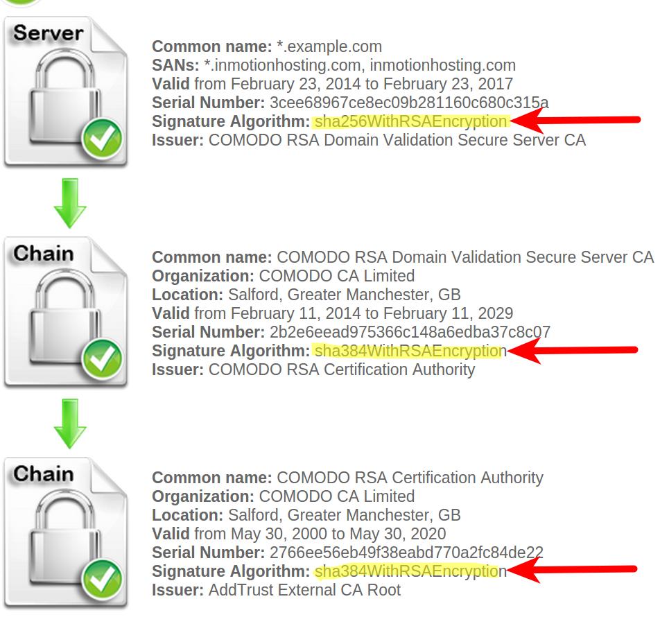 View of SHA with SSL Checker