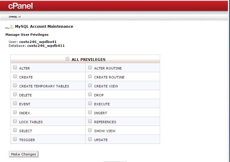 Add database user privileges