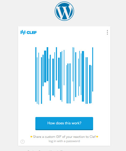 Got to the WordPress Clef login screen
