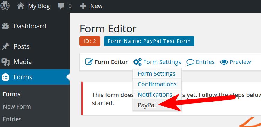 WordPress PayPal Form Settings