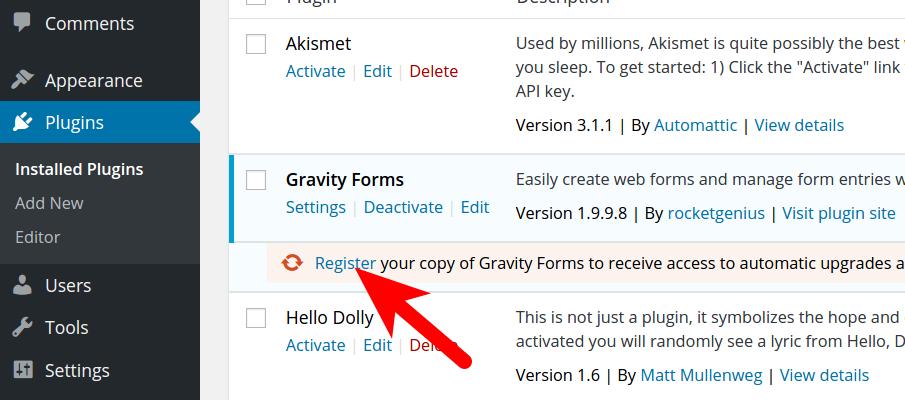 Enter Gravity Forms key