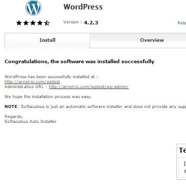 Completed WordPress install URLs