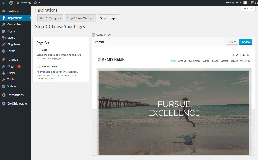 Select pages for inspiration