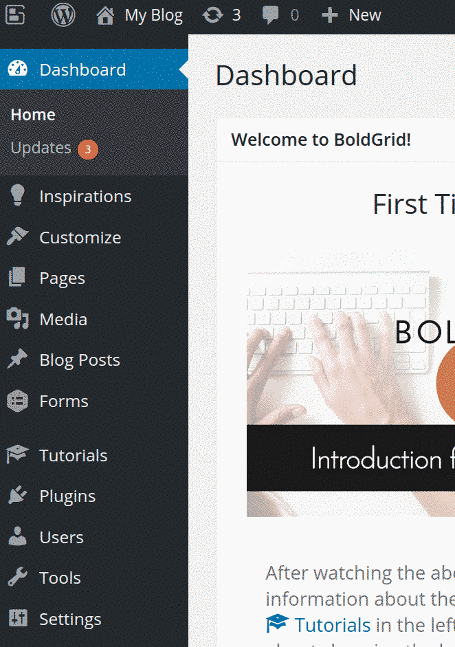 Dashboard in BoldGrid for WordPress