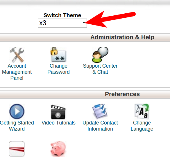 Change cPanel Theme