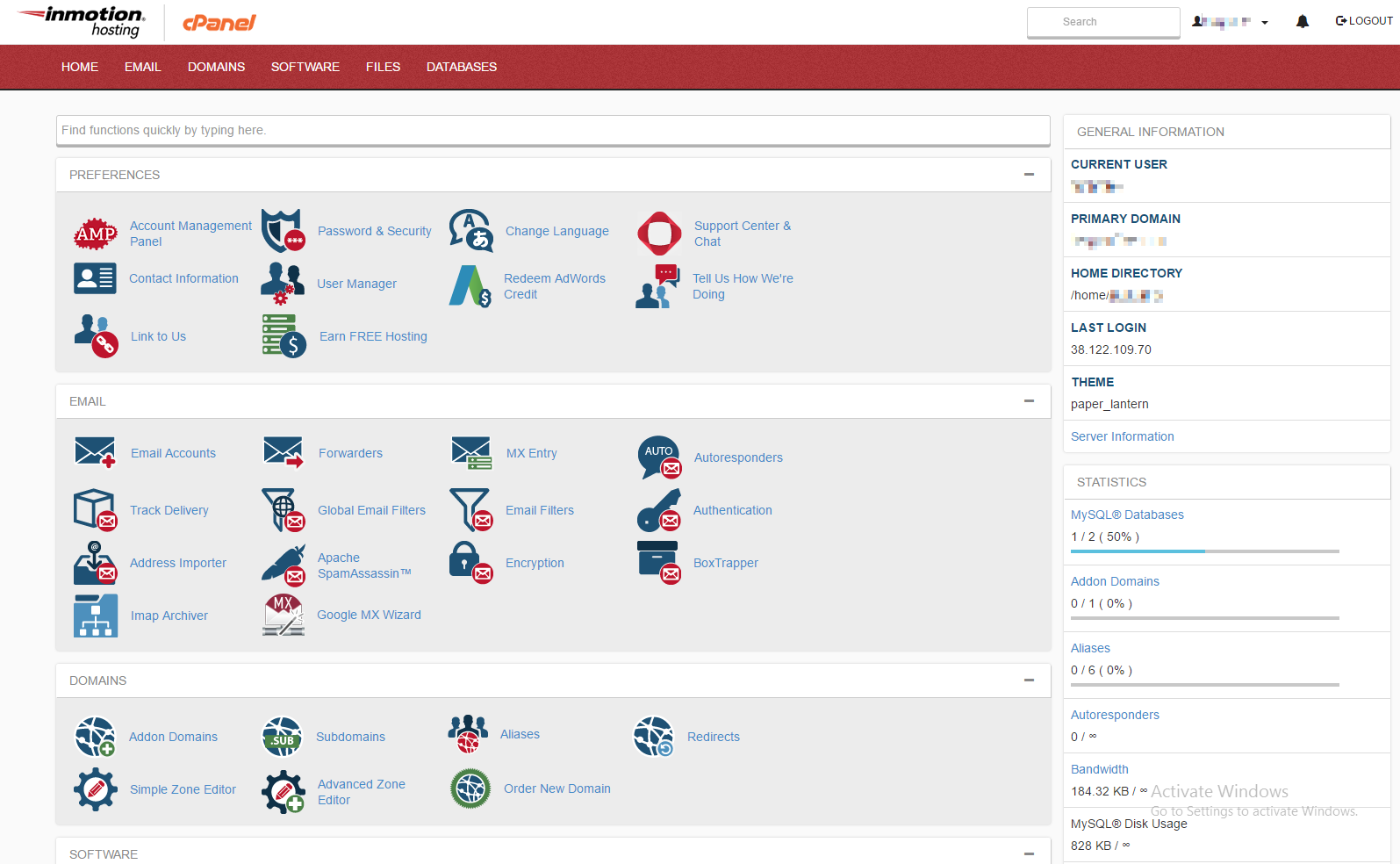 Example of Paper Lantern cPanel