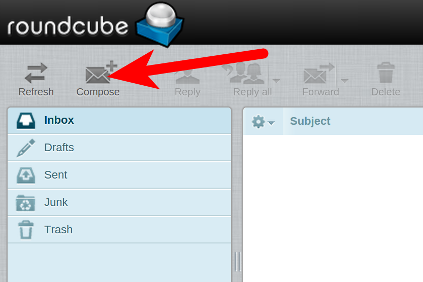 Creating an email in Round Cube