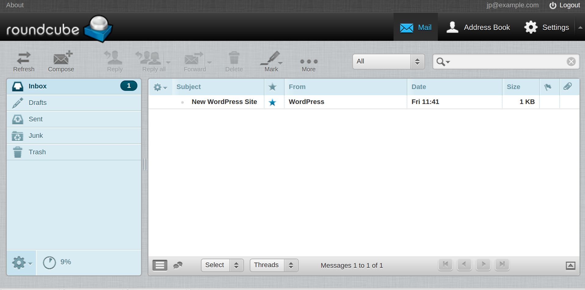 Example of Roundcube webmail