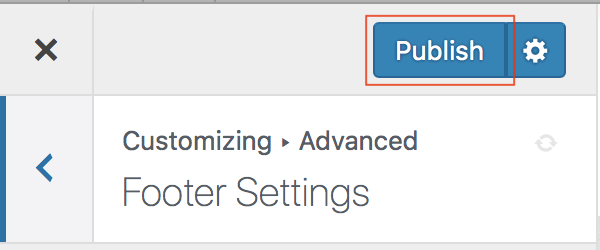 Customizer Advanced Footer Settings Publish button highlighted.