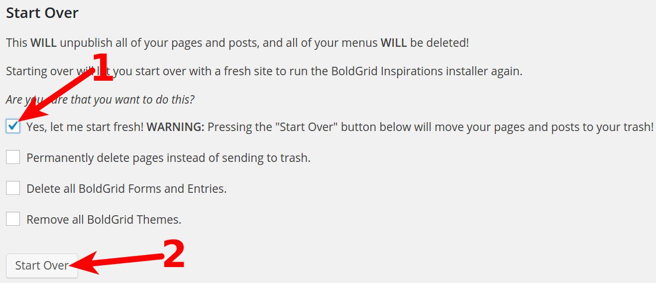 Restart your BoldGrid site