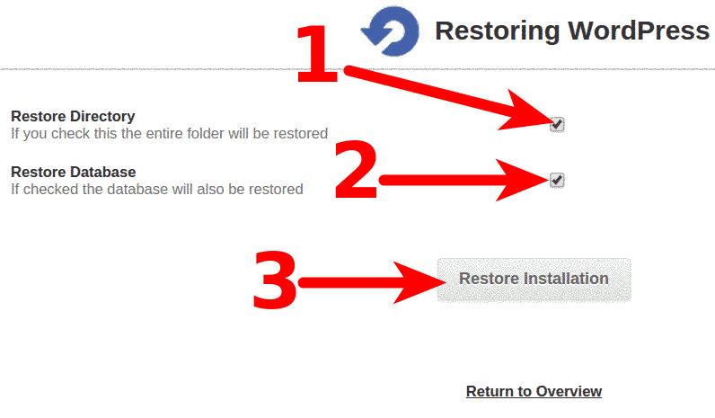 Softaculous Restoration