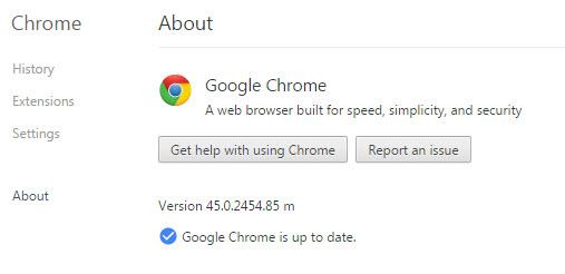 updated Google Chrome browser- v45