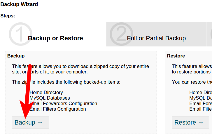 Arvixe backup in cPanel