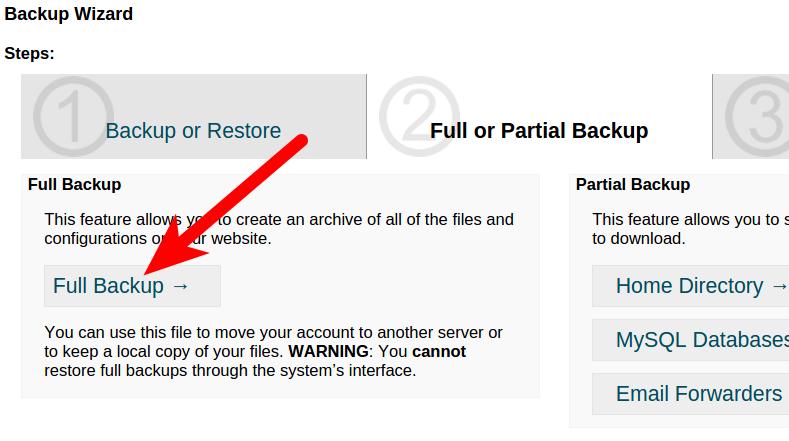 Full Website backup