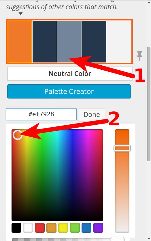 BoldGrid custom color palette