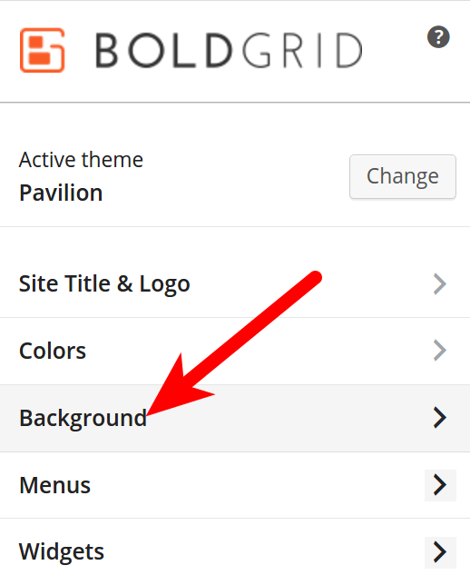 Background tab in Customizer