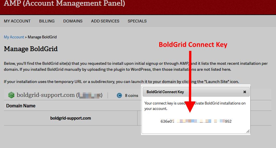 BoldGrid Connect Key