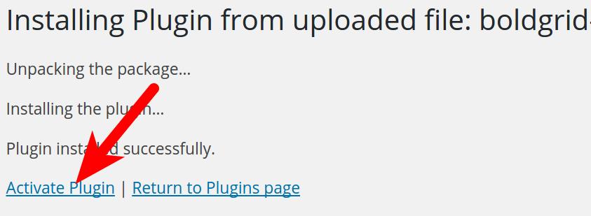 activate BoldGrid plugin