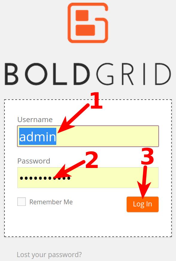 Logging into BoldGrid